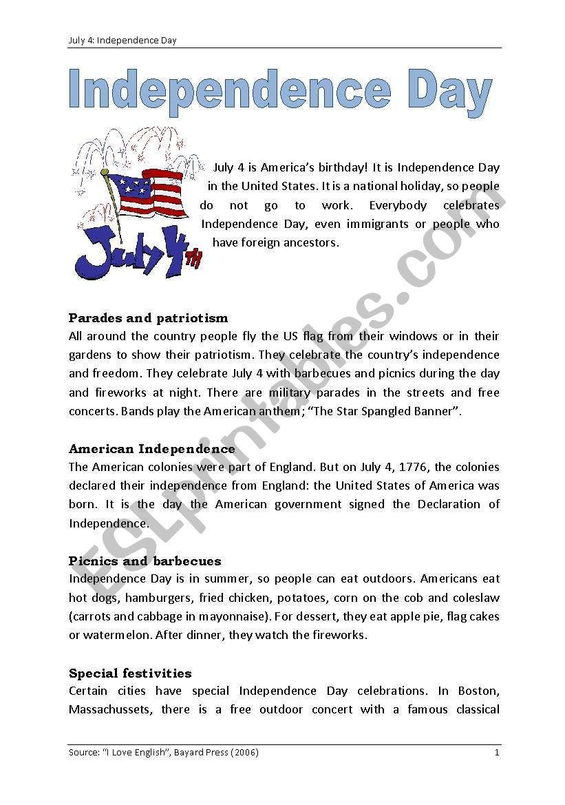 Declaration Of Independence Worksheet July 4 Independence Day Esl Worksheet by Nessyfleur