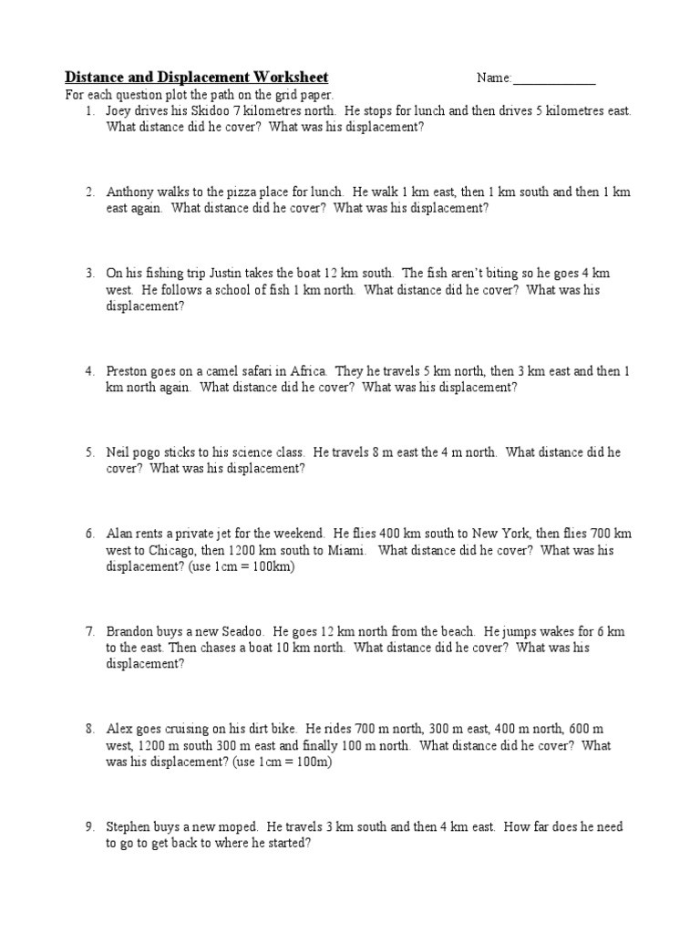 Distance and Displacement Worksheet Distance and Displacement Worksheet 1