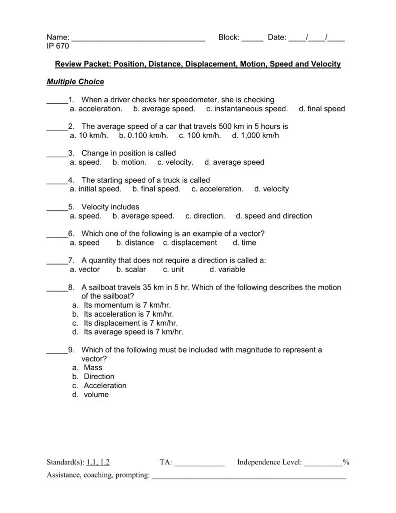 Distance and Displacement Worksheet Distance and Displacement Worksheet Answers Just before