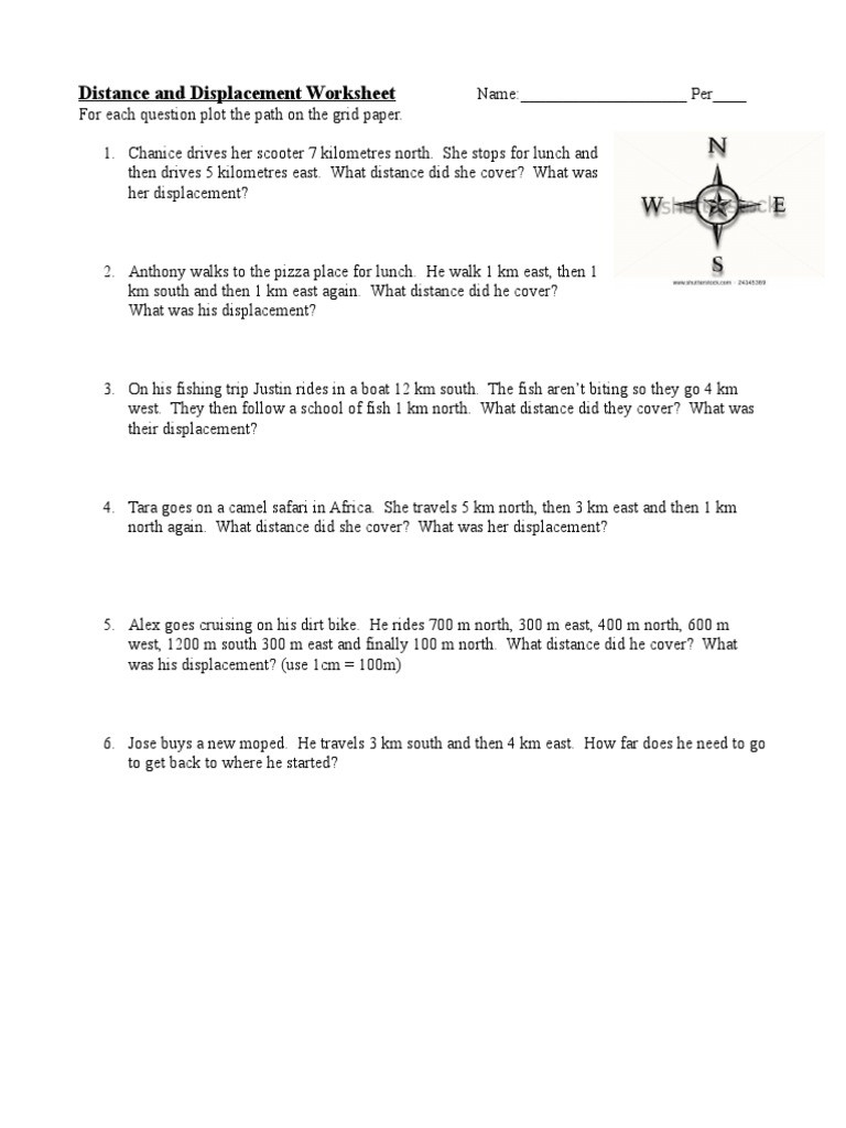 Distance and Displacement Worksheet Distance Displacement Velocity Practice Problems 2