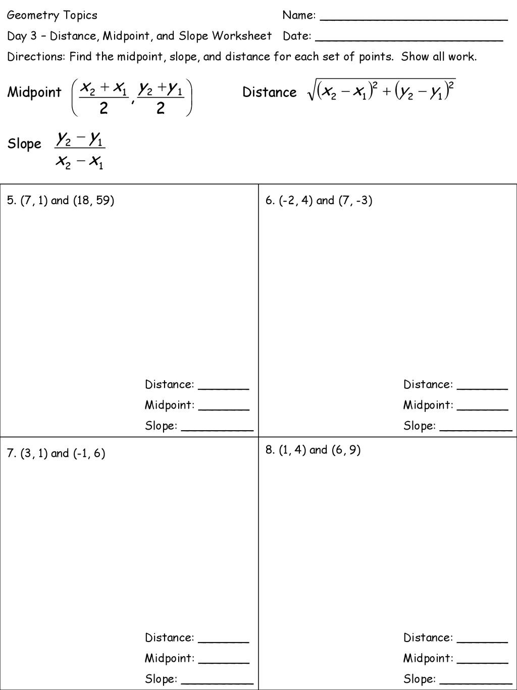 Distance and Midpoint formula Worksheet Geometry topics Name Ppt