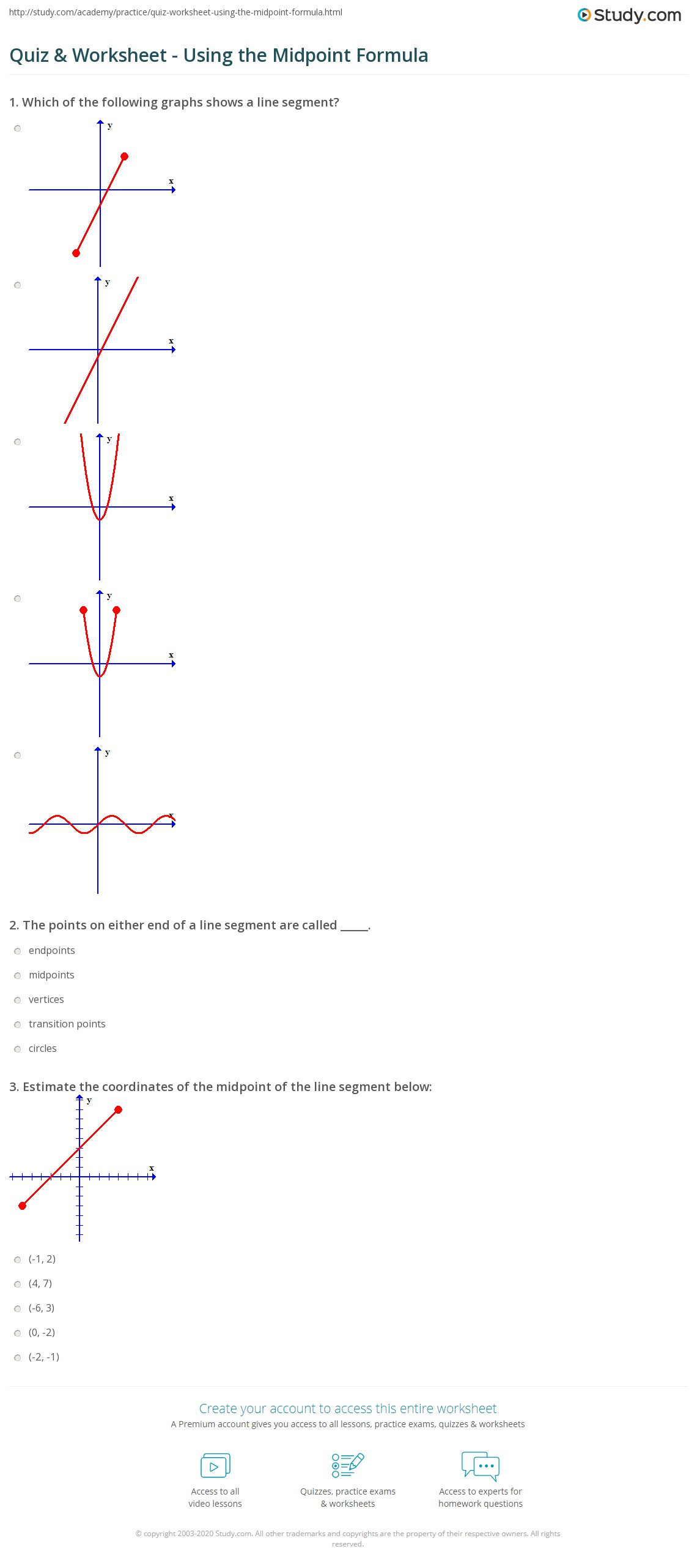 Distance and Midpoint formula Worksheet Quiz & Worksheet Using the Midpoint formula