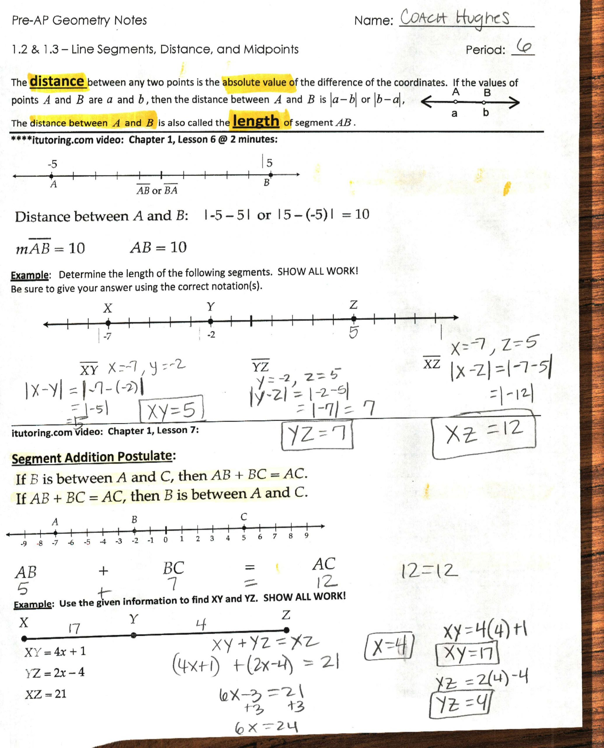 Distance and Midpoint Worksheet Answers 1st Six Weeks Coach Hughes Website