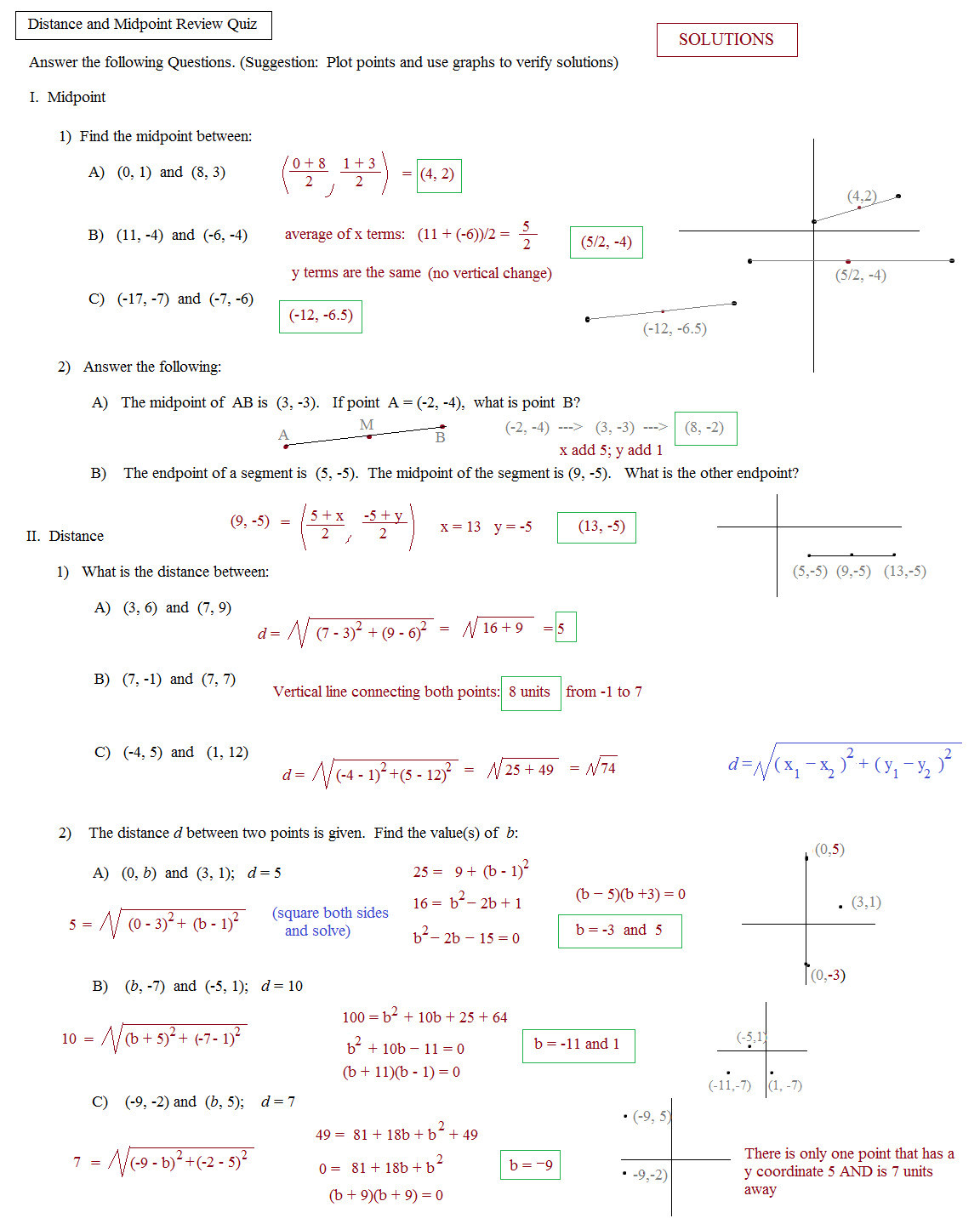 Distance and Midpoint Worksheet Answers Distance and Displacement Worksheets