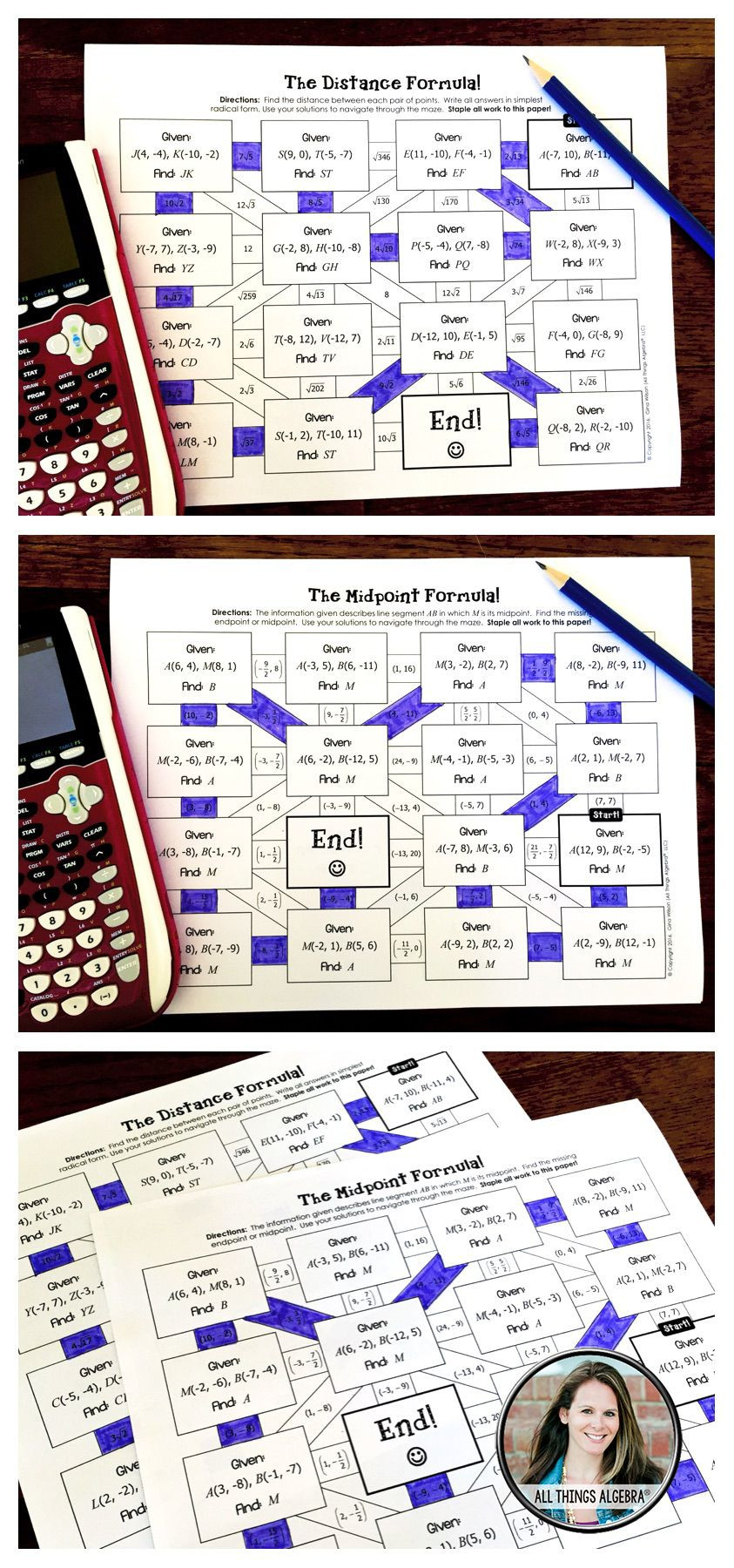 Distance and Midpoint Worksheet Answers Distance formula and Midpoint formula Mazes