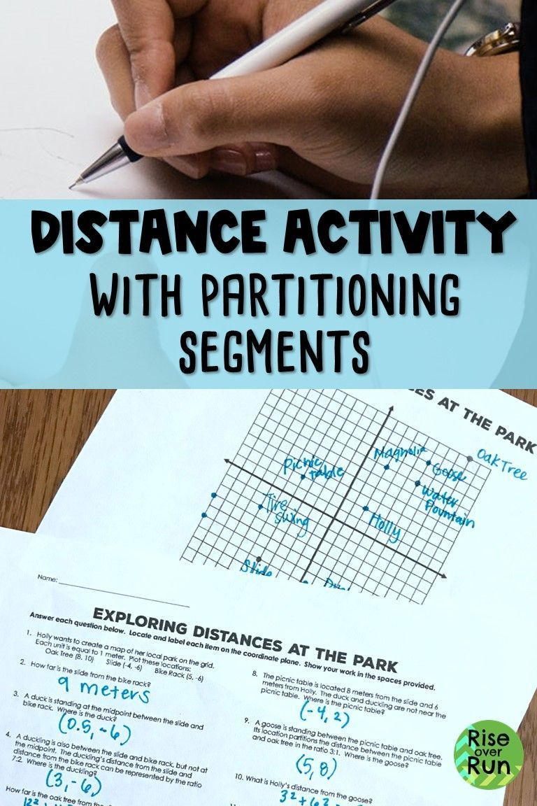 Distance and Midpoint Worksheet Answers Distance Midpoint Partitioning Line Segments Map Activity