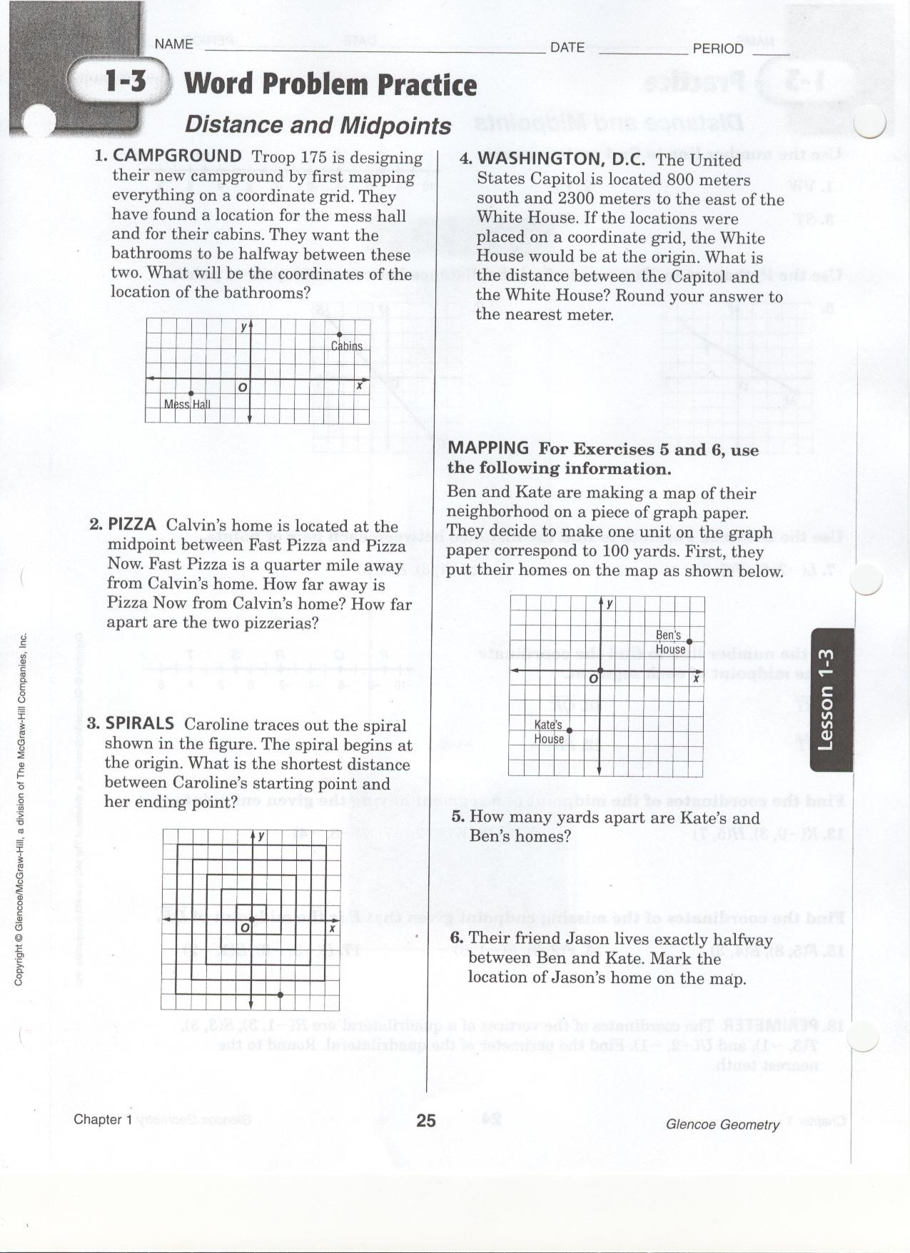 Distance and Midpoint Worksheet Answers Quia Class Page Geometry Period 4