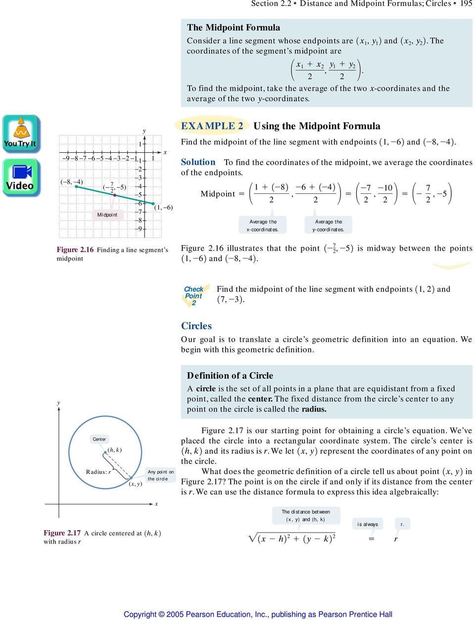 Distance and Midpoint Worksheet Answers Section 2 2 Distance and Midpoint formulas Circles Pdf