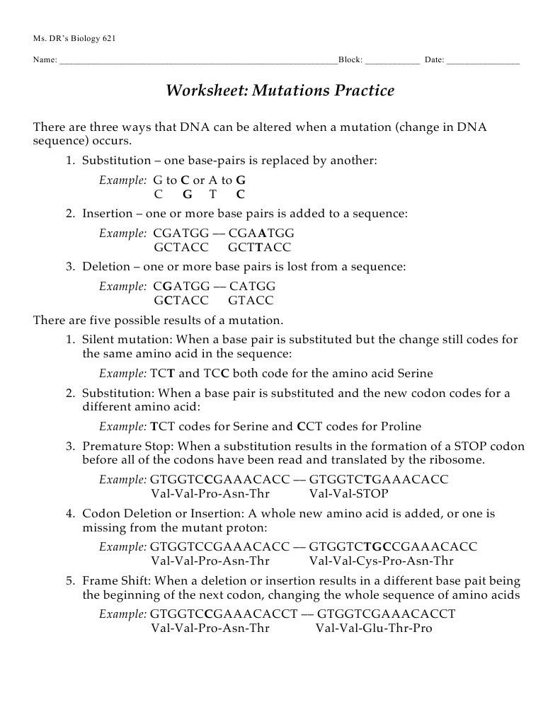 Dna Mutation Practice Worksheet Answers Mutations Worksheet Genetic Code
