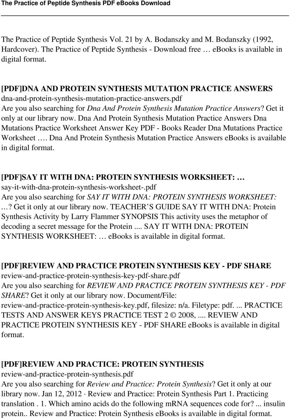 Dna Mutation Practice Worksheet Answers the Practice Of Peptide Synthesis Pdf Free Download