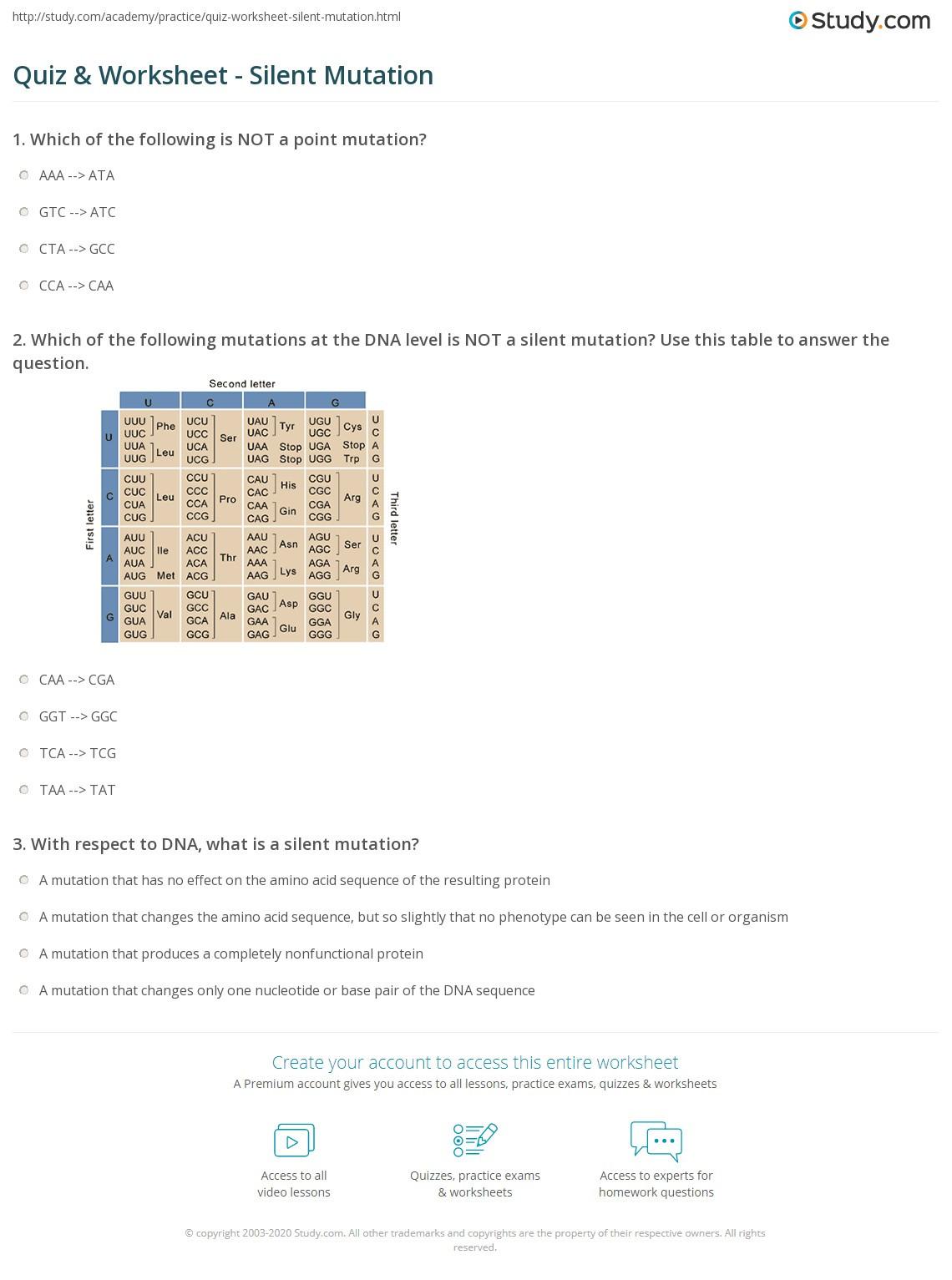 Dna Mutations Practice Worksheet Answers Quiz & Worksheet Silent Mutation