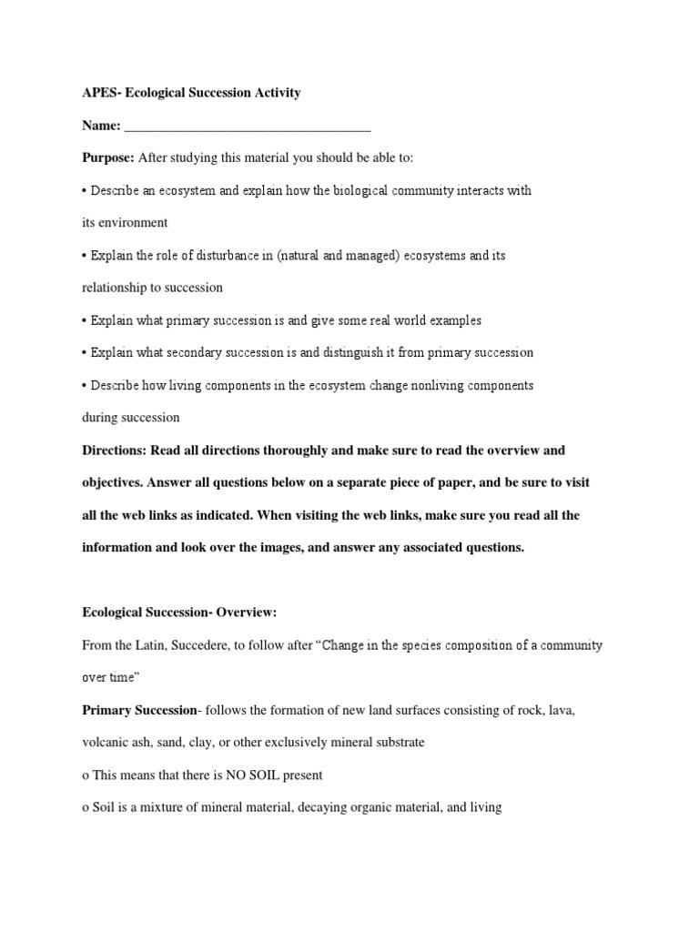 Ecological Succession Worksheet Answers Apes Ecological Succession Activity Ecology