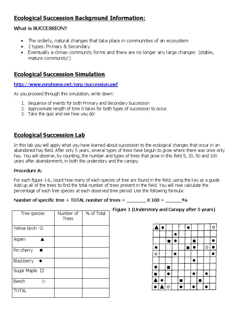 Ecological Succession Worksheet Answers Ecological Succession Lab with Trees and Graphing 1 1