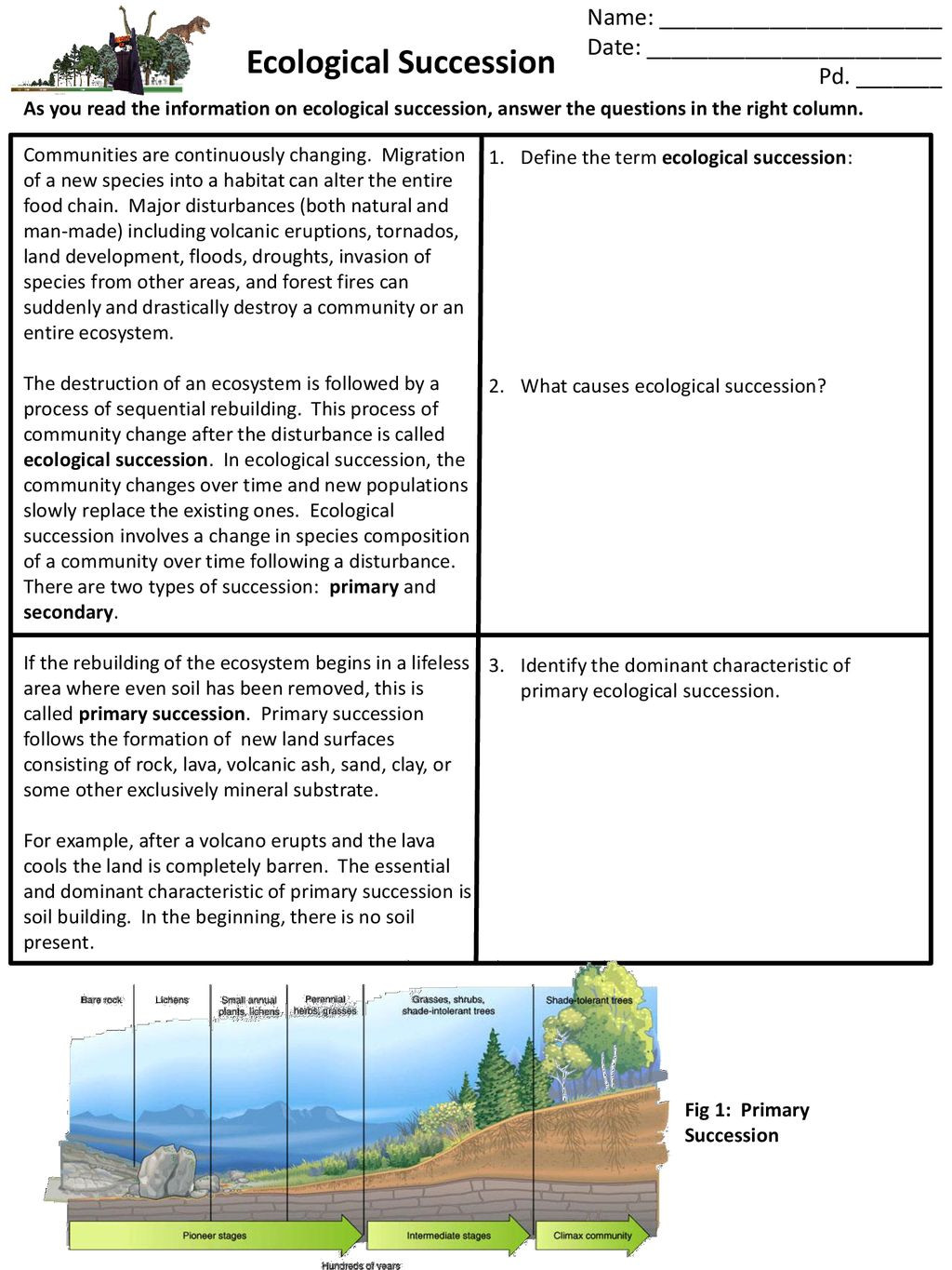 Ecological Succession Worksheet Answers Ecological Succession Ppt