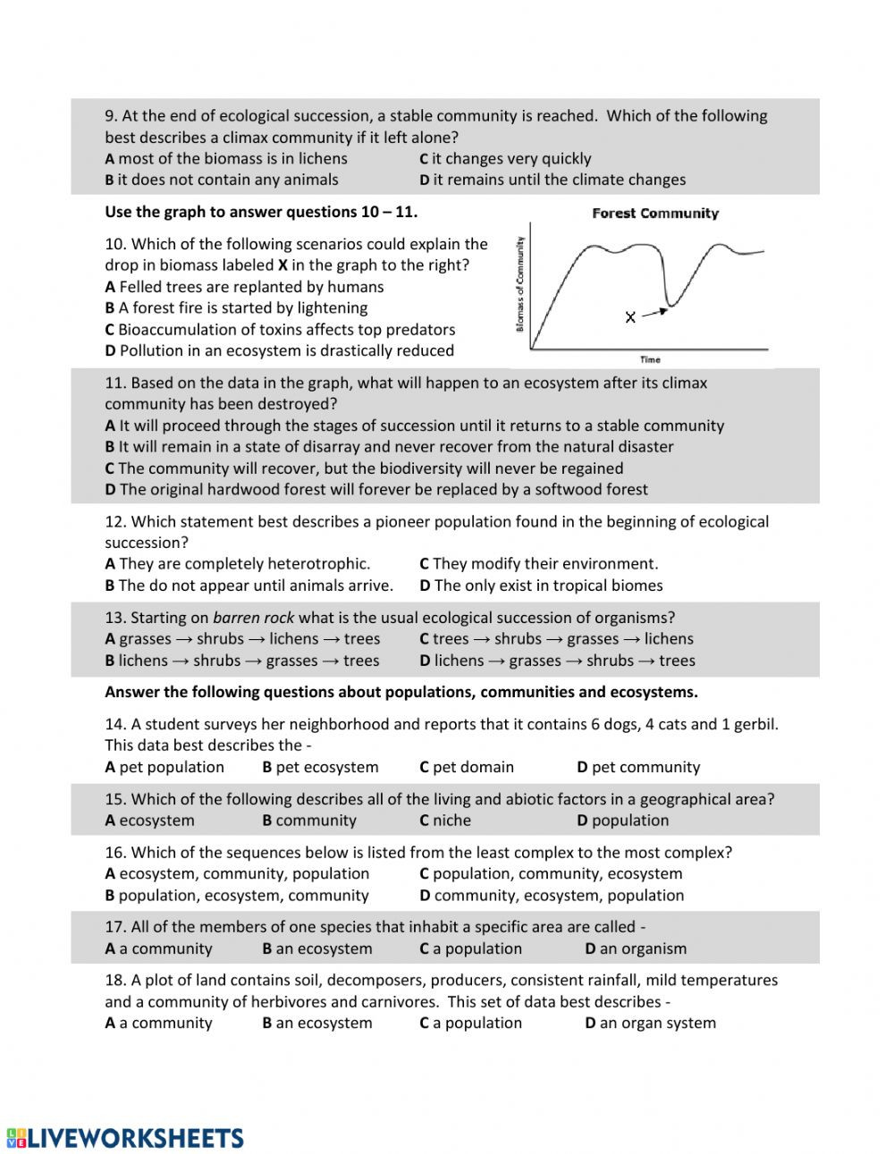 Ecological Succession Worksheet Answers Es Eco Succession Part 2 Interactive Worksheet