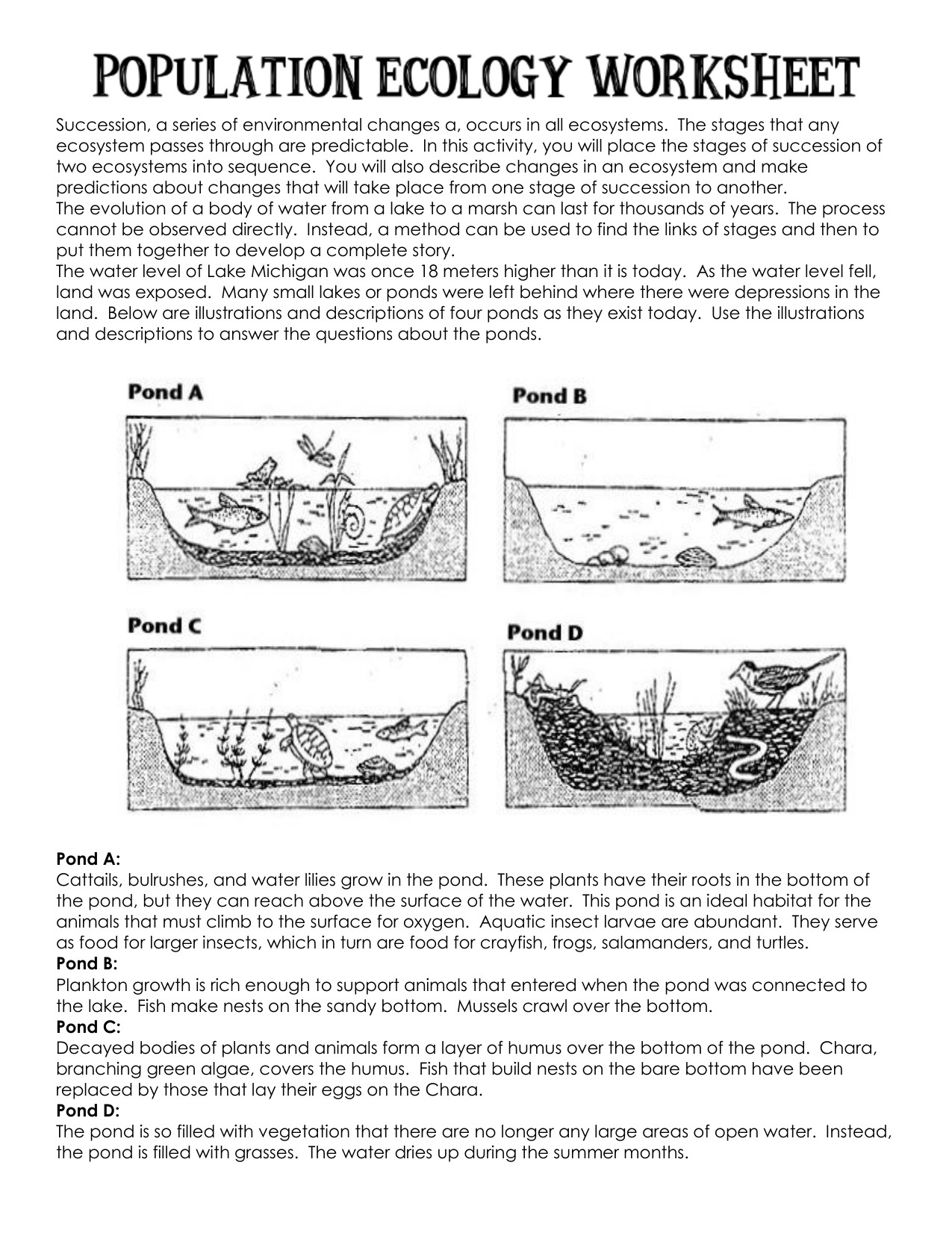 Ecological Succession Worksheet Answers Succession Worksheet for Individual
