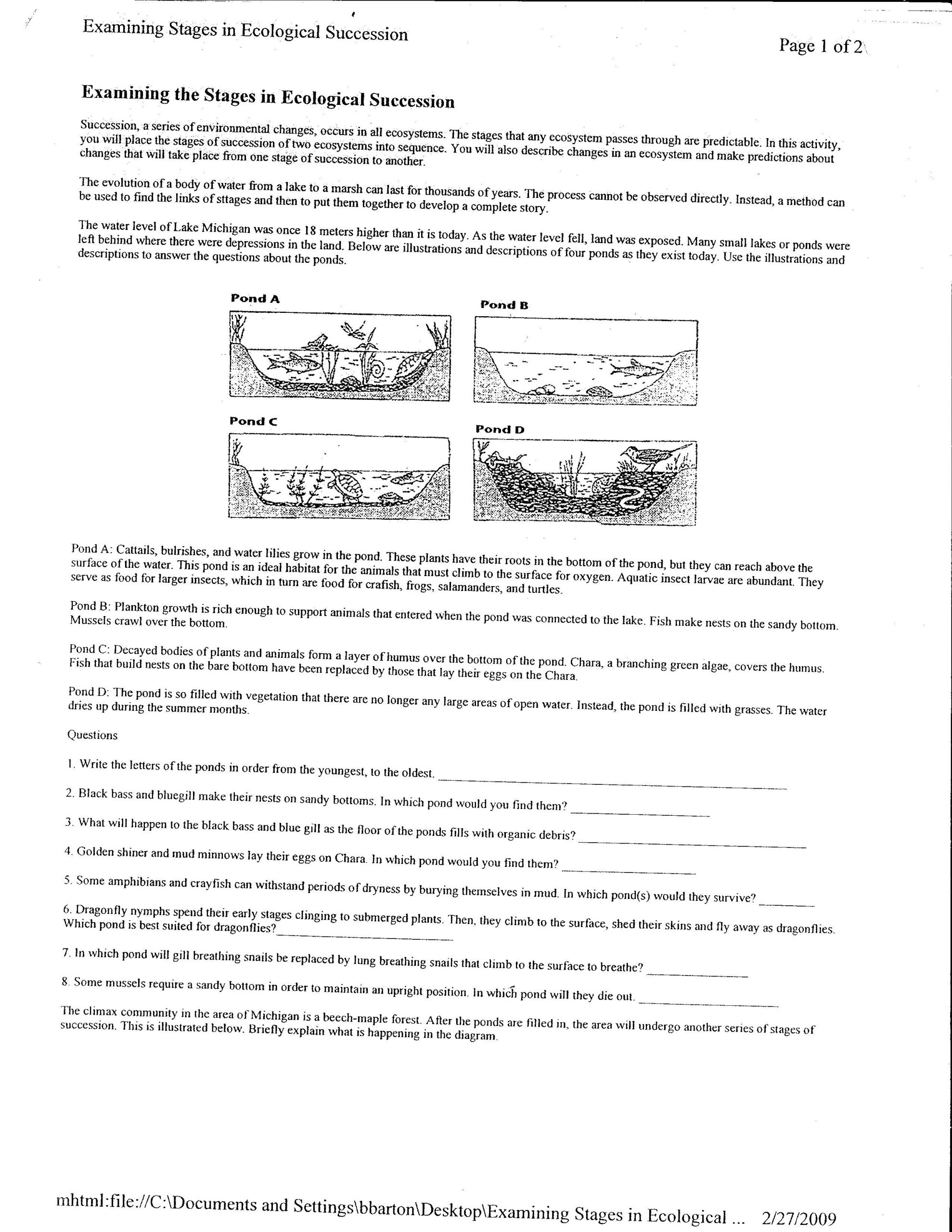 Ecological Succession Worksheet Answers Télécharger Successions Worksheet Pdf Pdf