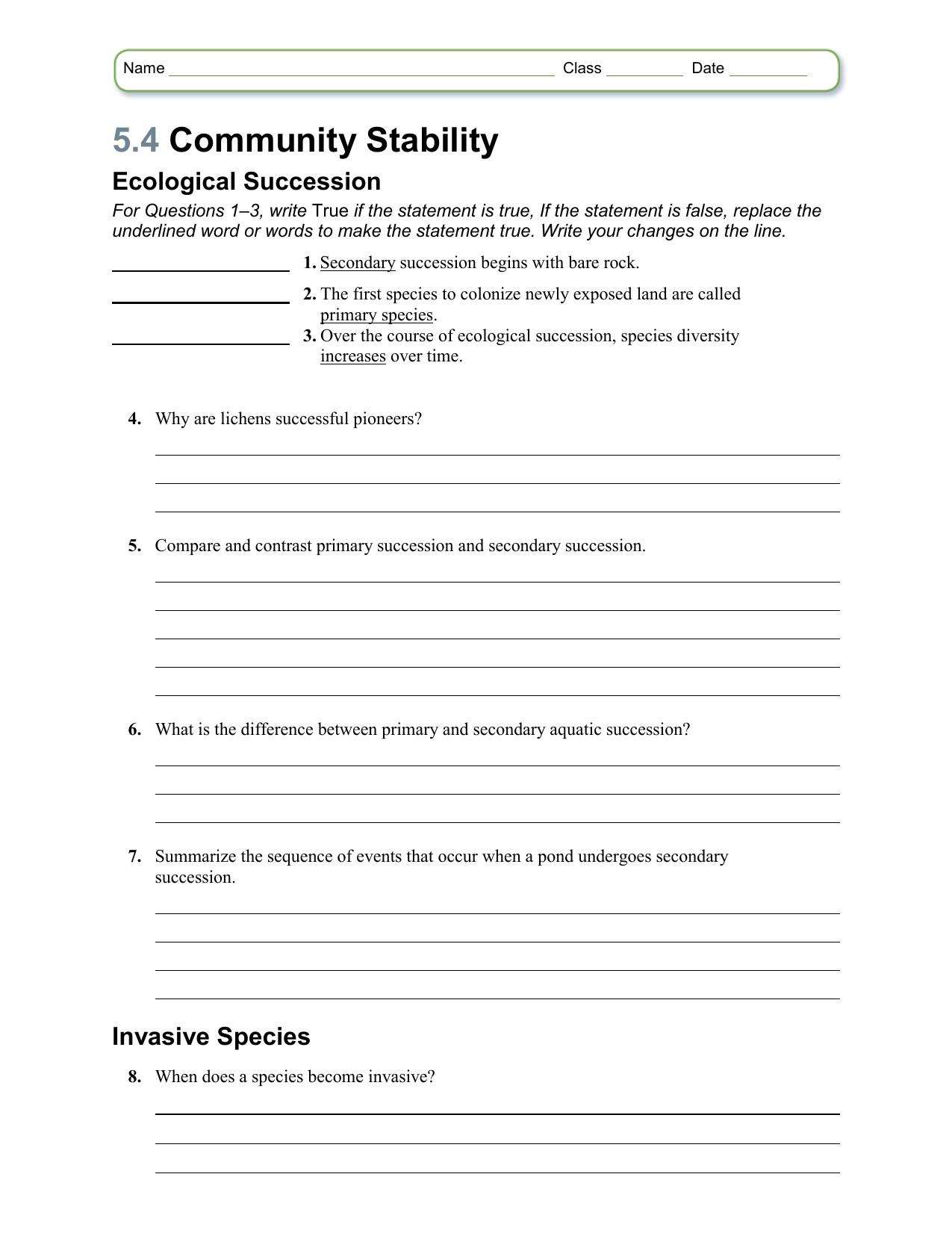 Ecology Review Worksheet 1 Ecological Succession Notes Worksheet