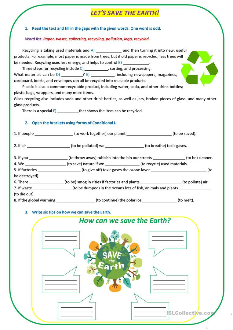 Ecology Review Worksheet 1 Let S Save the Earth English Esl Worksheets for Distance