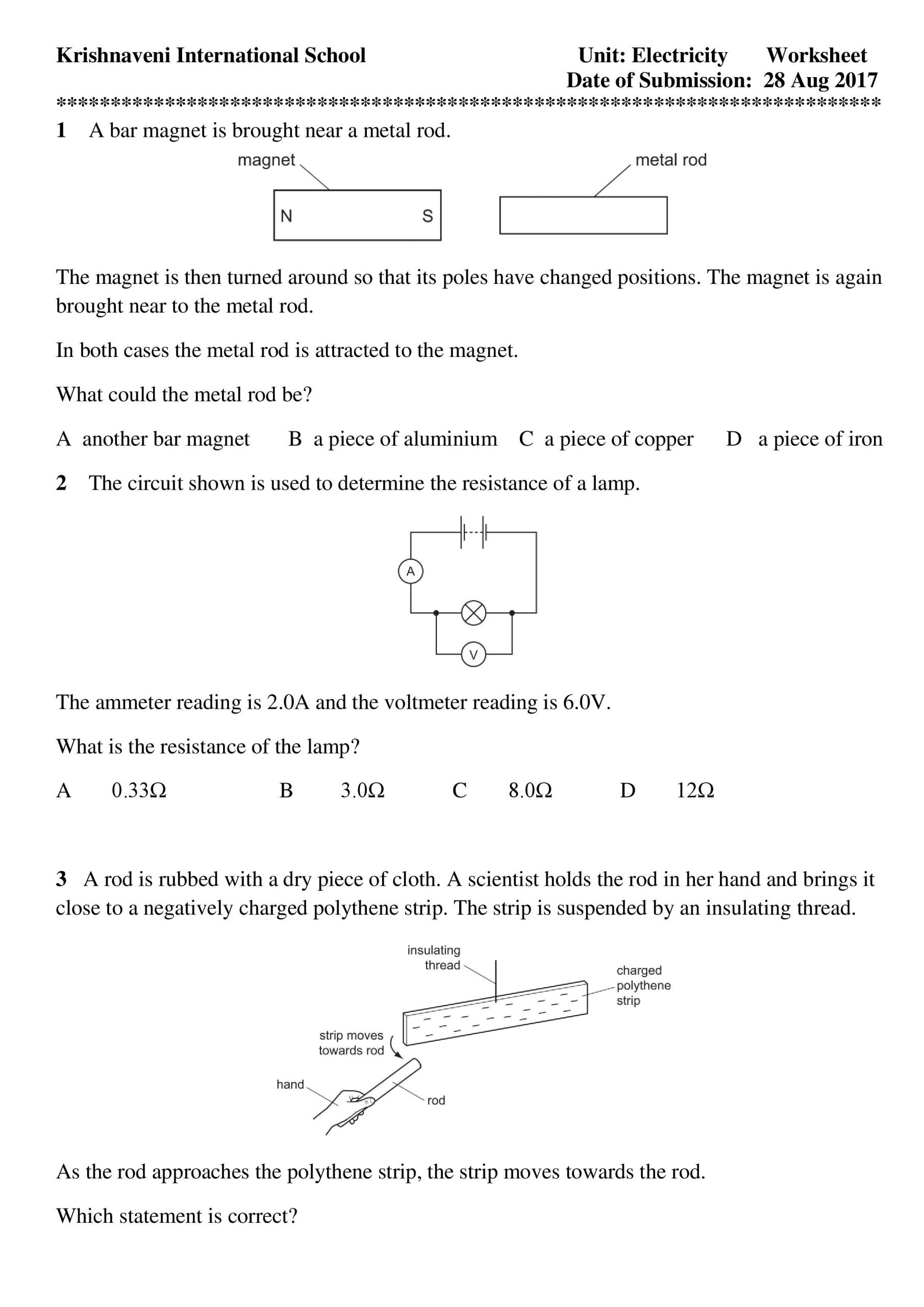 Electrical Power Worksheet Answers Electricity Direct Current Practical Electricity