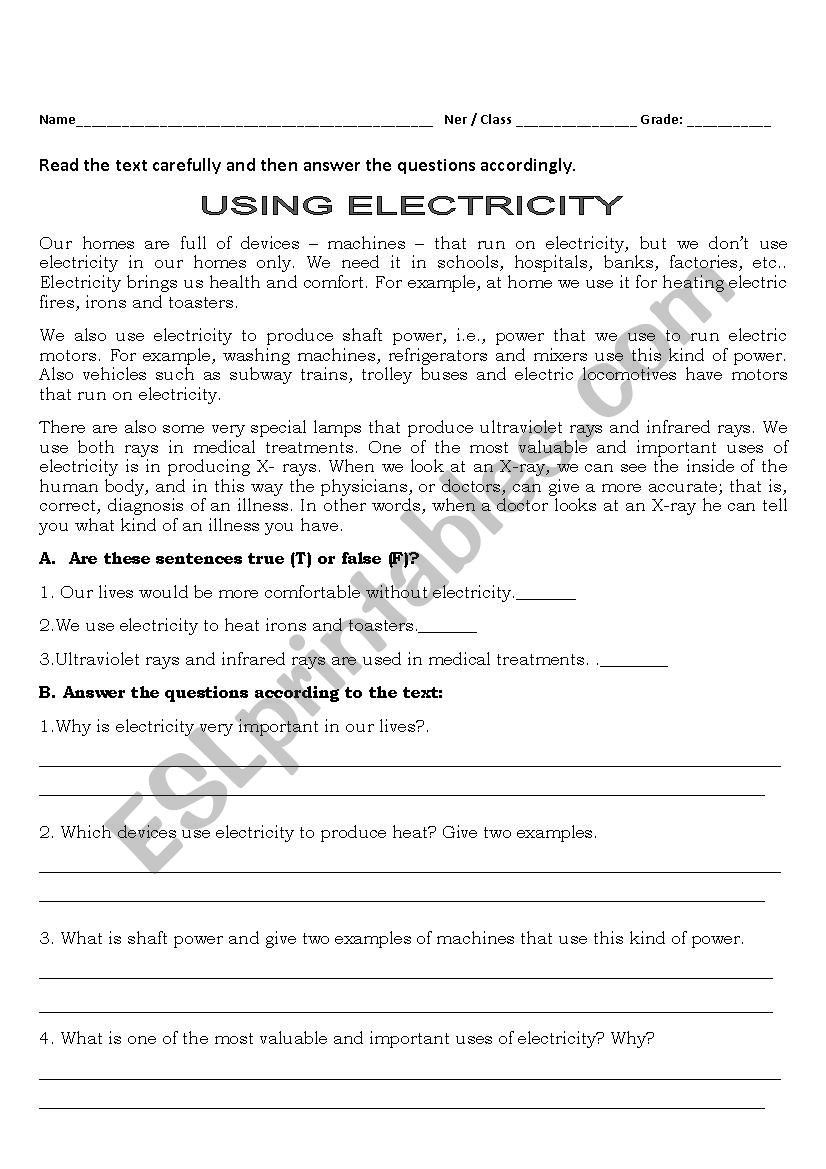 Electrical Power Worksheet Answers Electricity today Esl Worksheet by isabella31