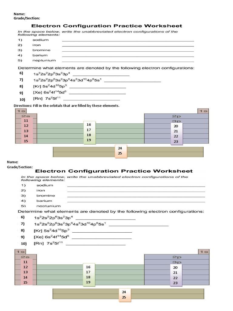 Electron Configuration Practice Worksheet Electron Configuration Worksheet