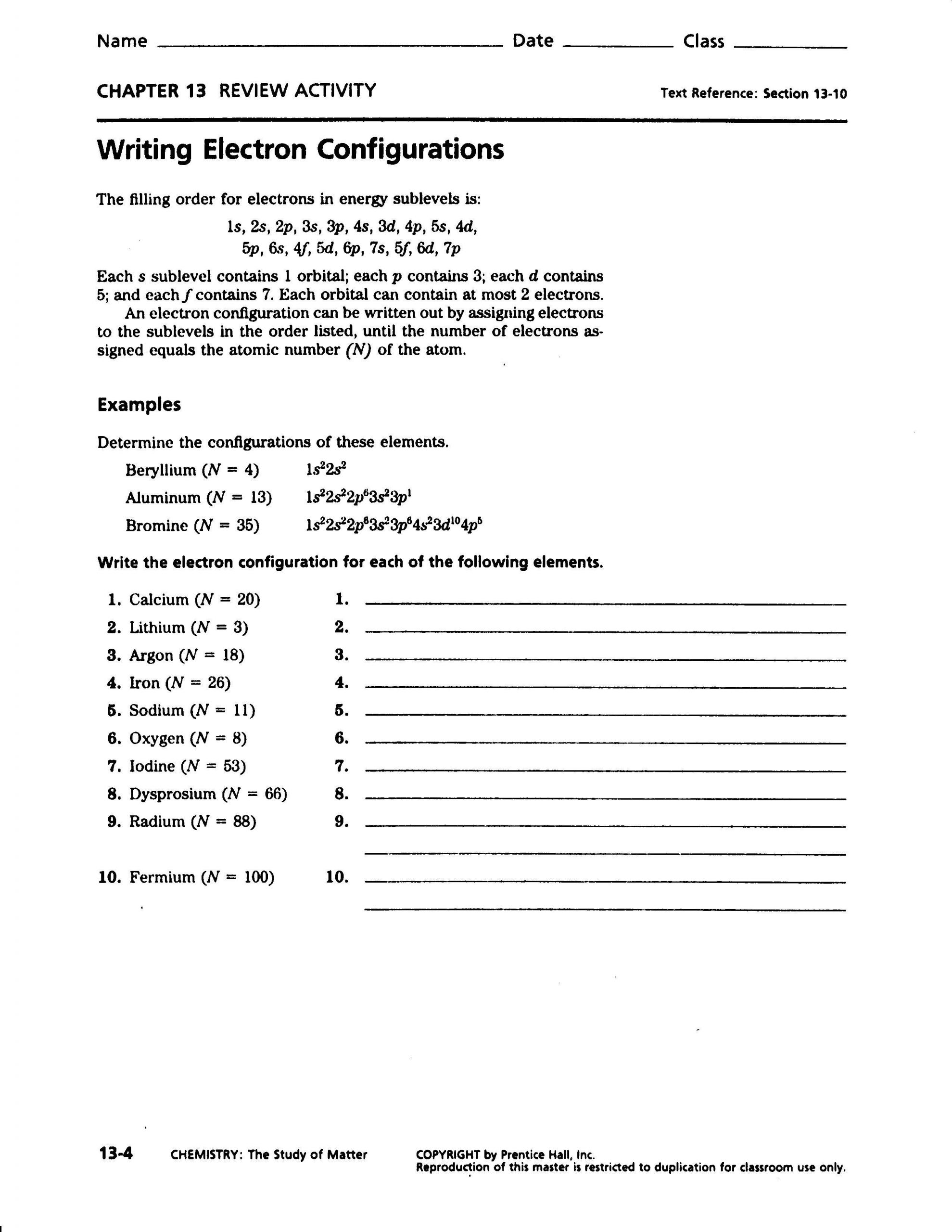 Electron Configuration Practice Worksheet Electron Configurations and the Periodic Table Practice