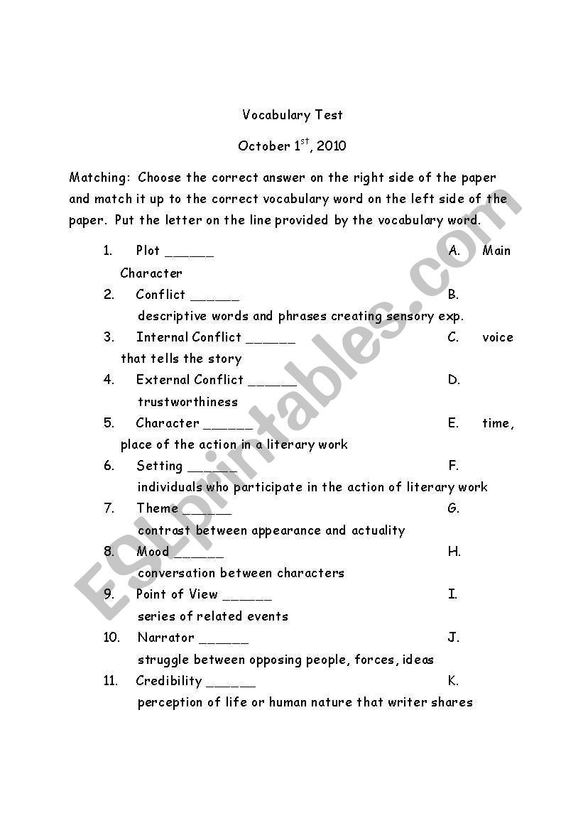 Elements Of Fiction Worksheet English Worksheets Elements Of Fiction Benchmark