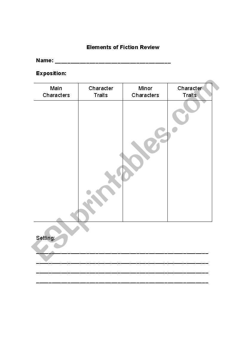 Elements Of Fiction Worksheet English Worksheets Elements Of Fiction