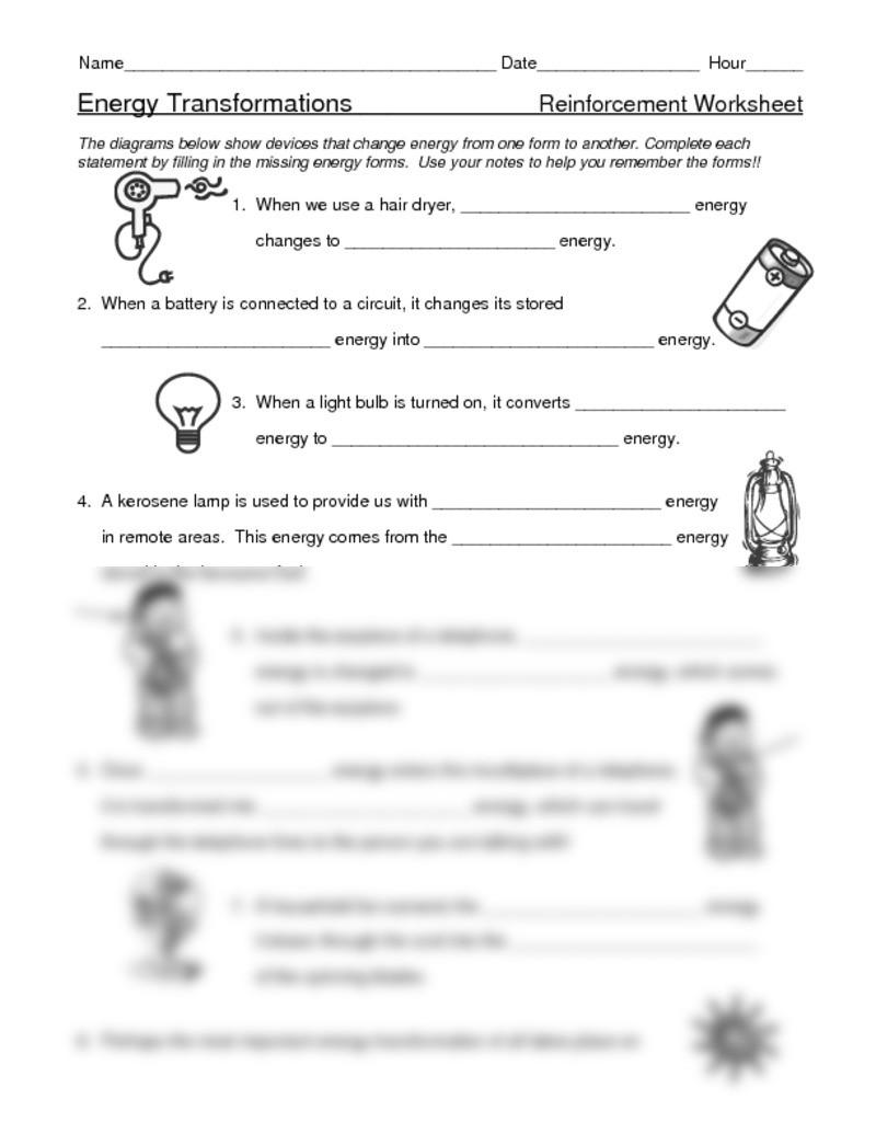 Energy Transformation Worksheet Answers Electrical Energy Worksheet Doc