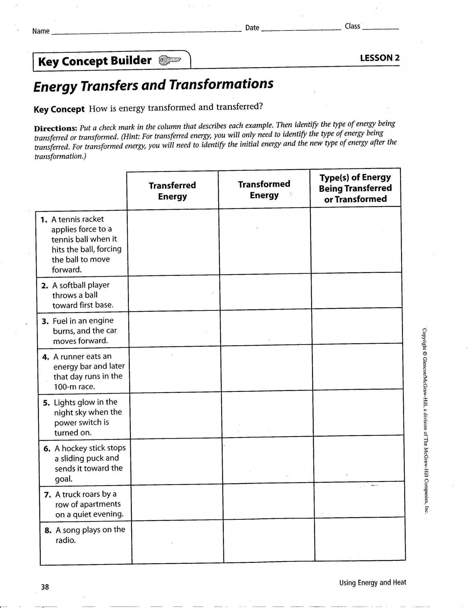 Energy Transformation Worksheet Answers Energy Transformation Worksheet Middle School In 2020