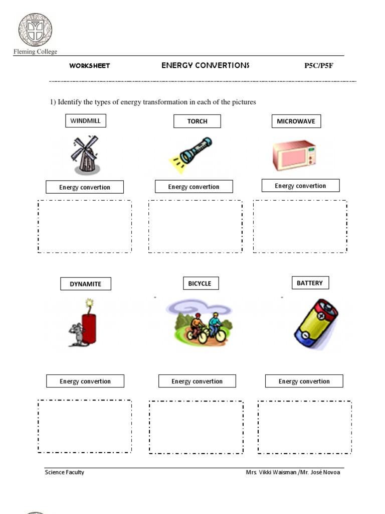 Energy Transformation Worksheet Answers Energy Transformation Worksheet