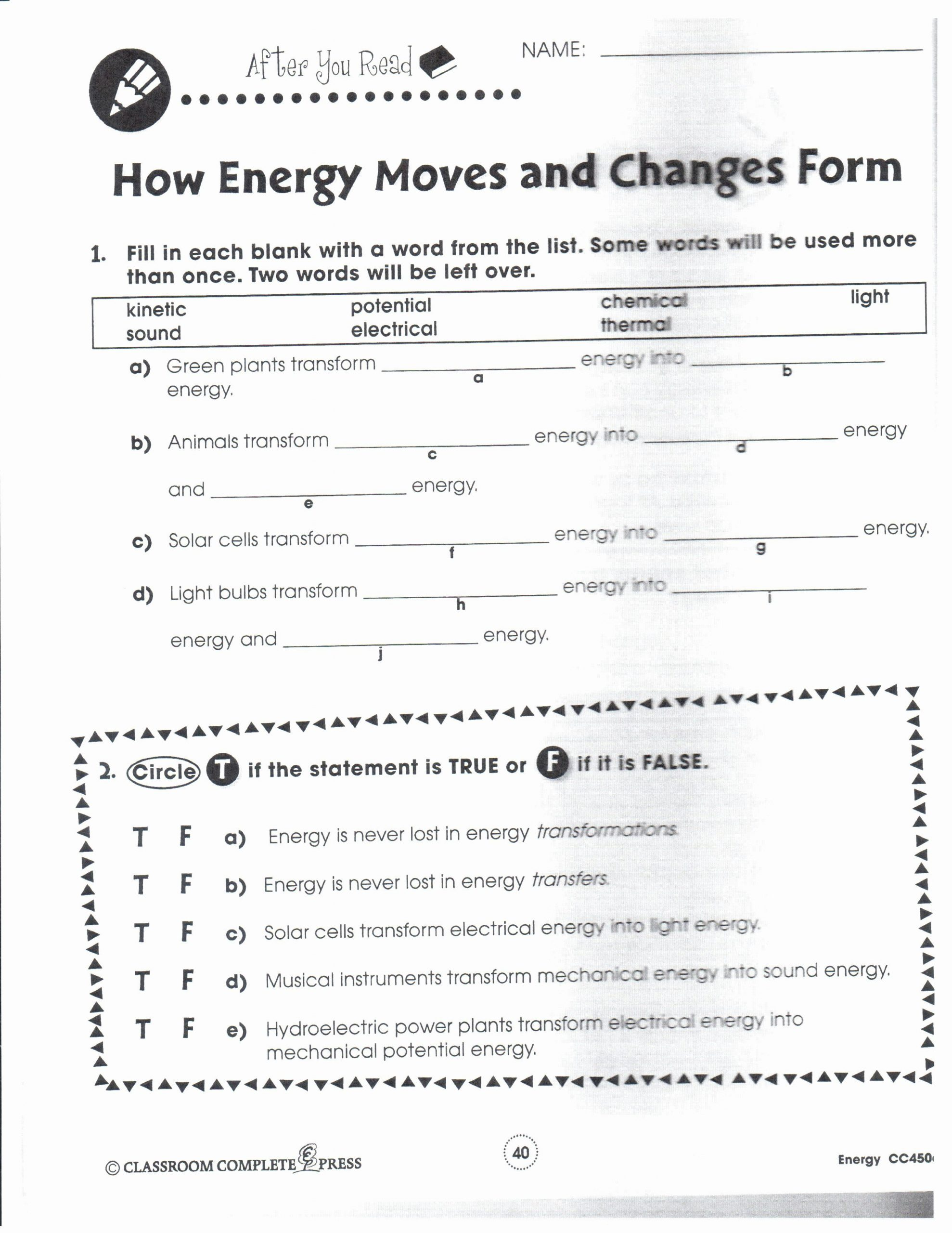 Energy Transformation Worksheet Answers forms Energy Worksheet Answers Inspirational 16 Best
