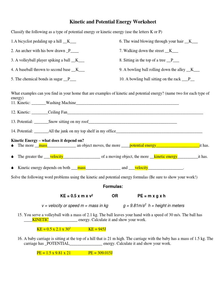 Energy Transformation Worksheet Answers Kinetic and Potential Energy Worksheet Answer Key