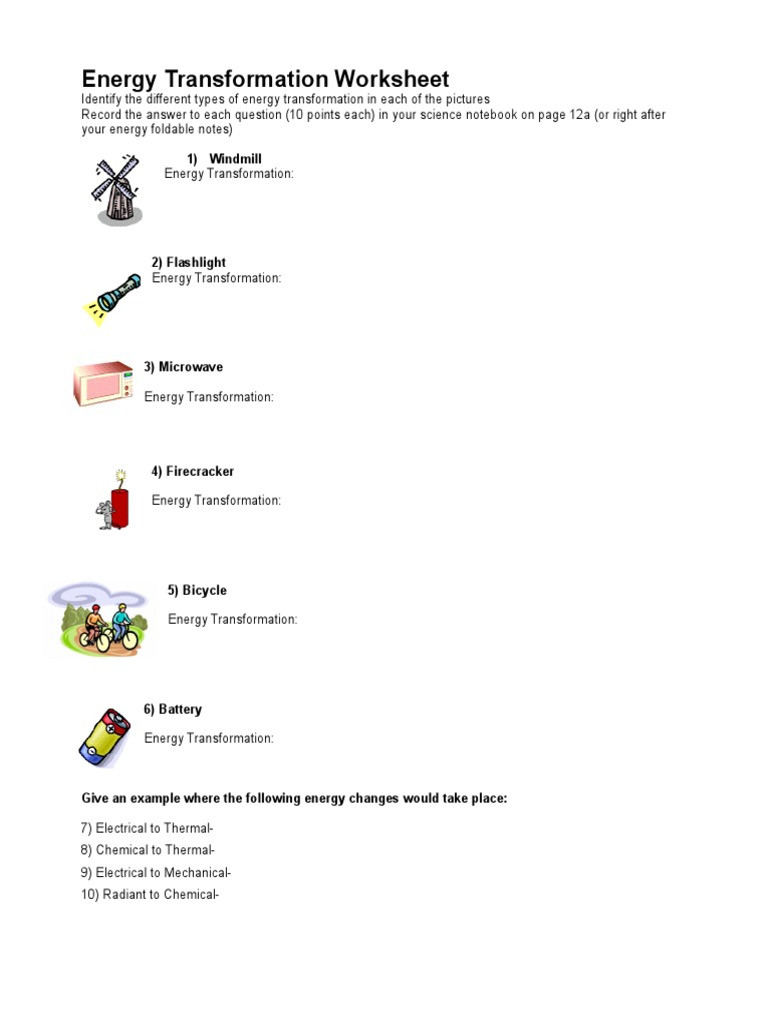 Energy Transformation Worksheet Answers Lesson 11 Kinetic Energy