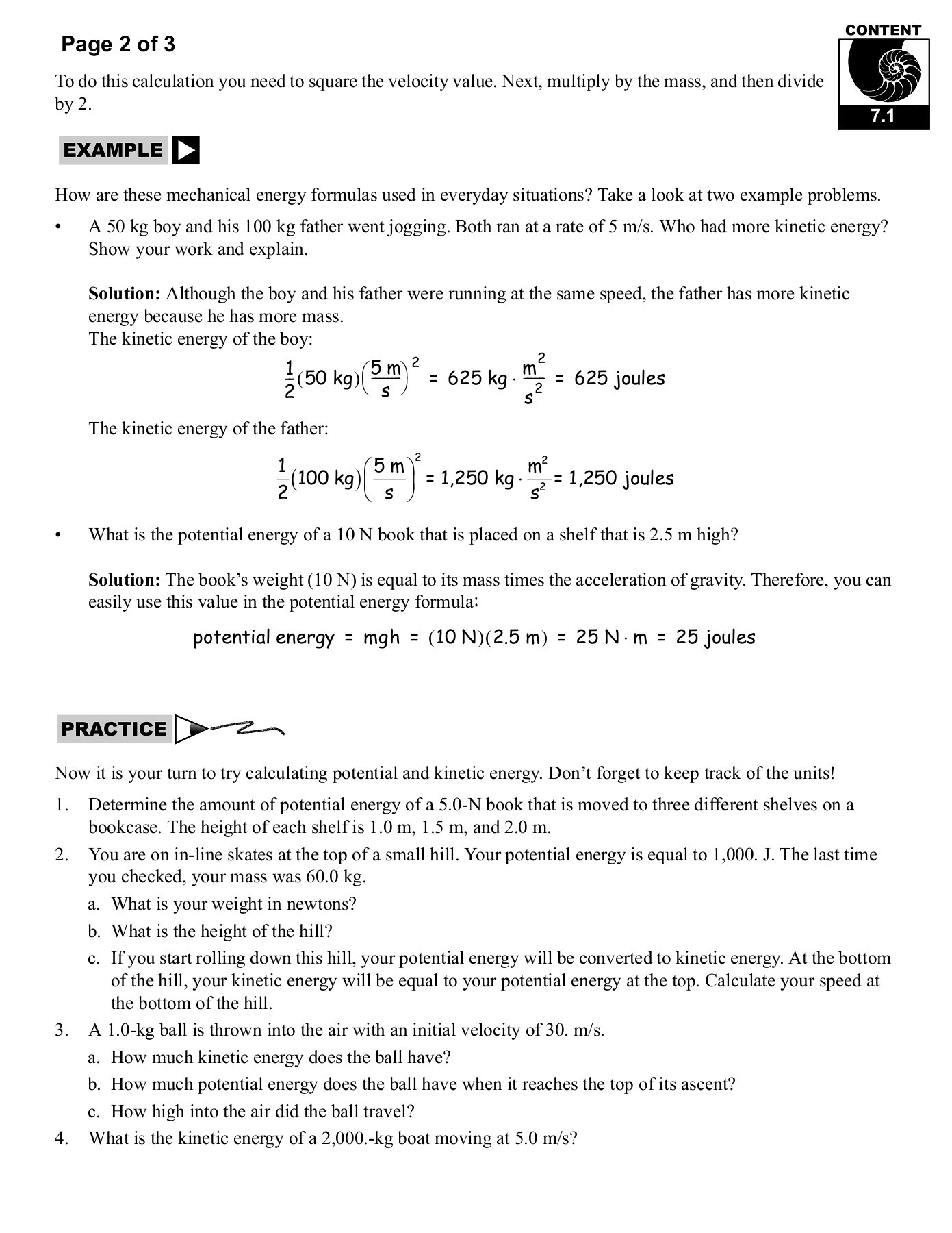 Energy Transformation Worksheet Pdf 7 1 Potential and Kinetic Energy Cpo Science Pages 1 29