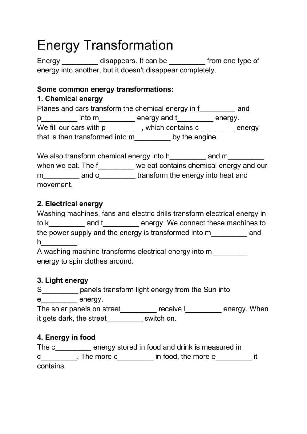 Energy Transformation Worksheet Pdf Energy Transformation Interactive Worksheet