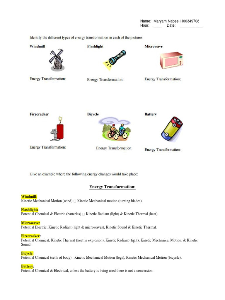 Energy Transformation Worksheet Pdf Energy Transformation Worksheet 2