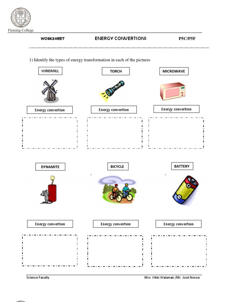 Energy Transformation Worksheet Pdf Energy Transformation Worksheet