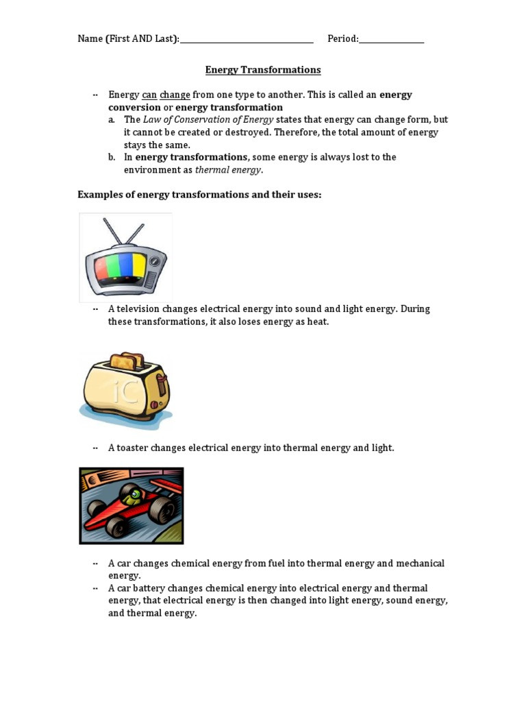 Energy Transformation Worksheet Pdf Energy Transformations Conversion or Energy Transformation