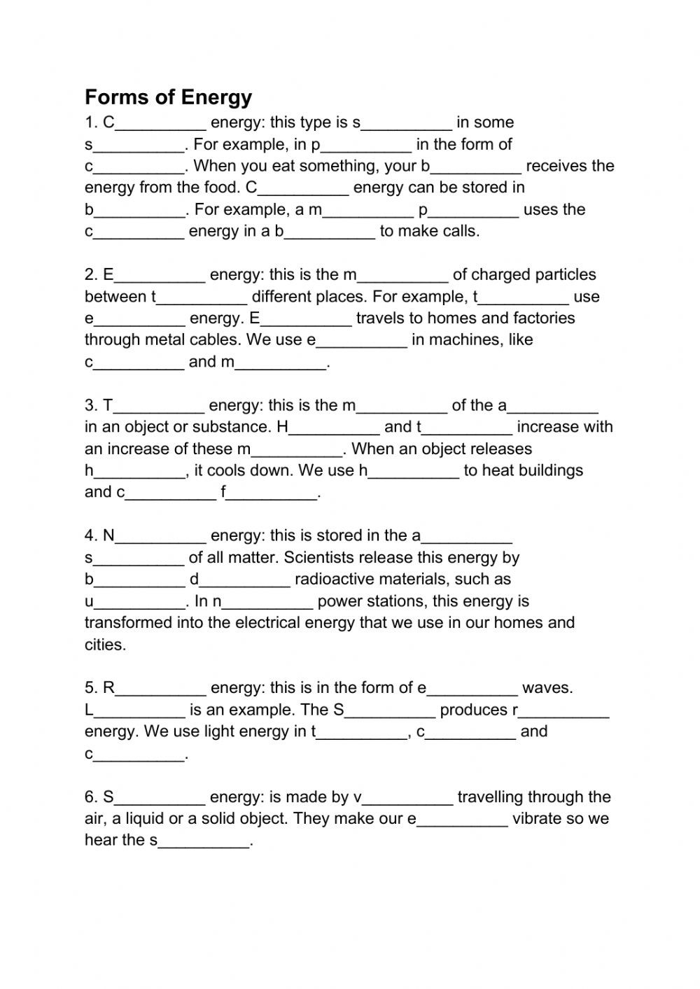 Energy Transformation Worksheet Pdf forms Of Energy Interactive Worksheet