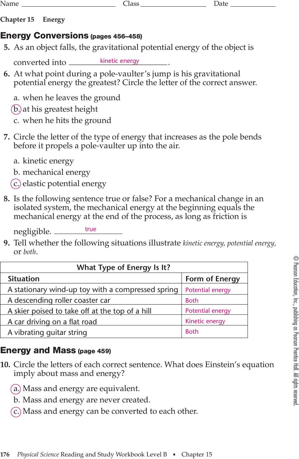 Energy Transformation Worksheet Pdf Section 15 1 Energy and Its forms Pages Pdf Free Download