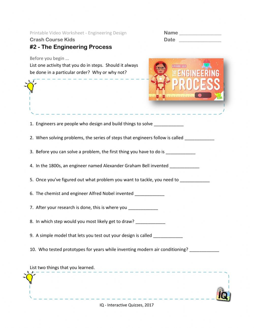 Engineering Design Process Worksheet 48 Crash Course the Engineering Process Video 2