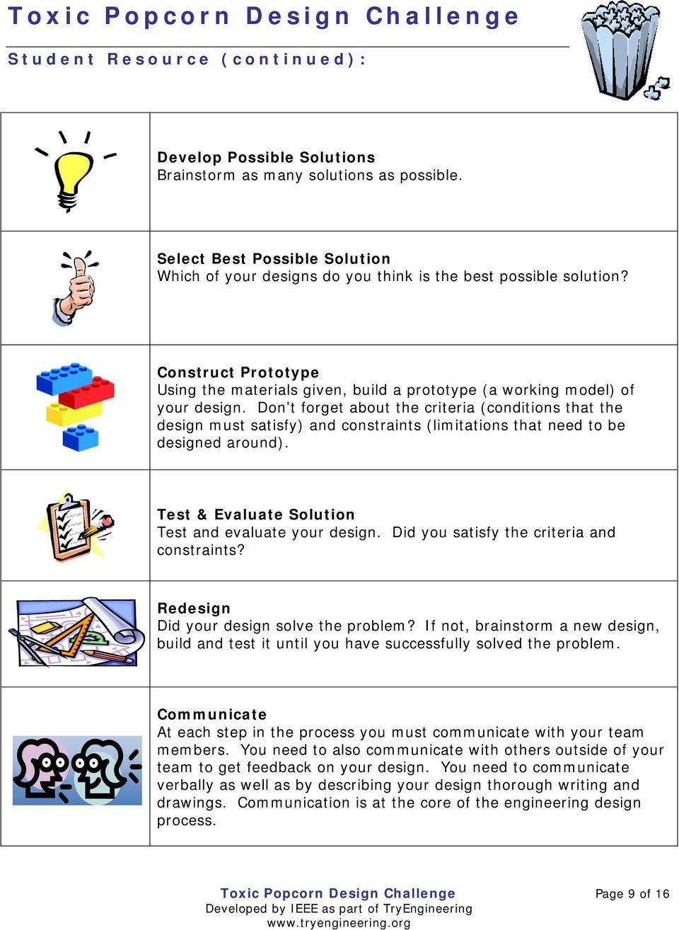 Engineering Design Process Worksheet toxic Popcorn Design Challenge Pdf Free Download