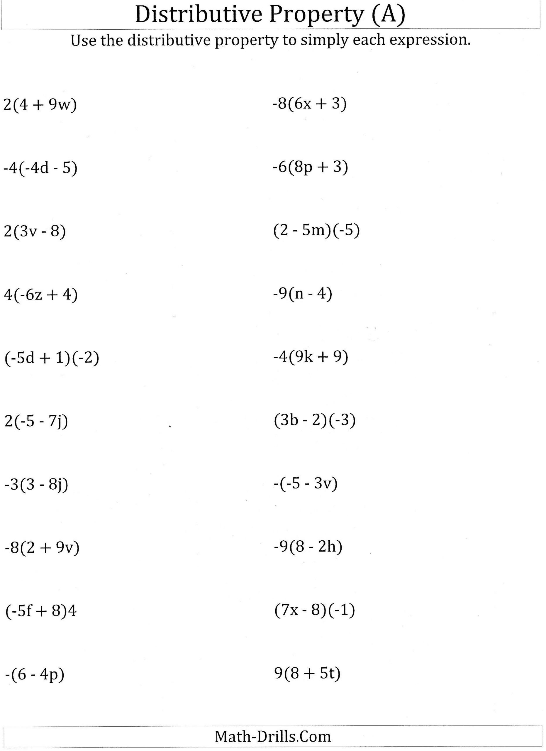 Equivalent Expressions Worksheet 6th Grade Distributive Property with Variables Worksheet 6th Grade