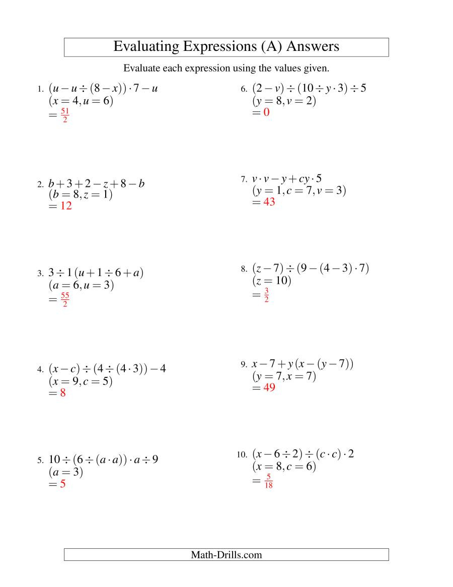 Equivalent Expressions Worksheet 6th Grade Evaluate Each Expression Worksheet Promotiontablecovers