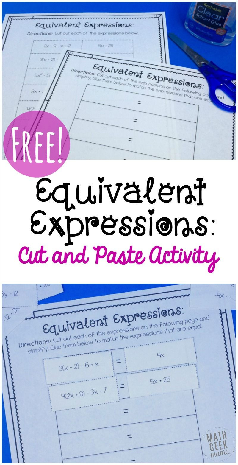 Equivalent Expressions Worksheet 6th Grade Simple Equivalent Expressions Activity Free
