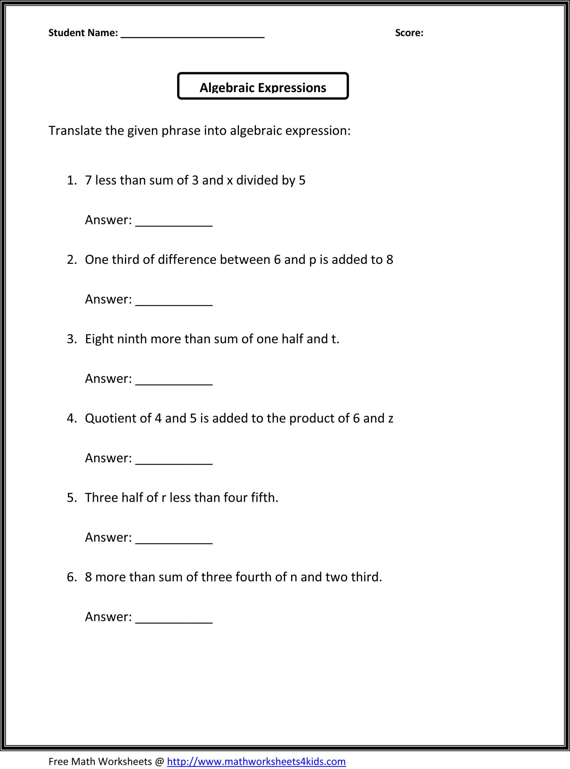 Equivalent Expressions Worksheet 6th Grade Simplify Algebraic Expressions Worksheets 6th Grade