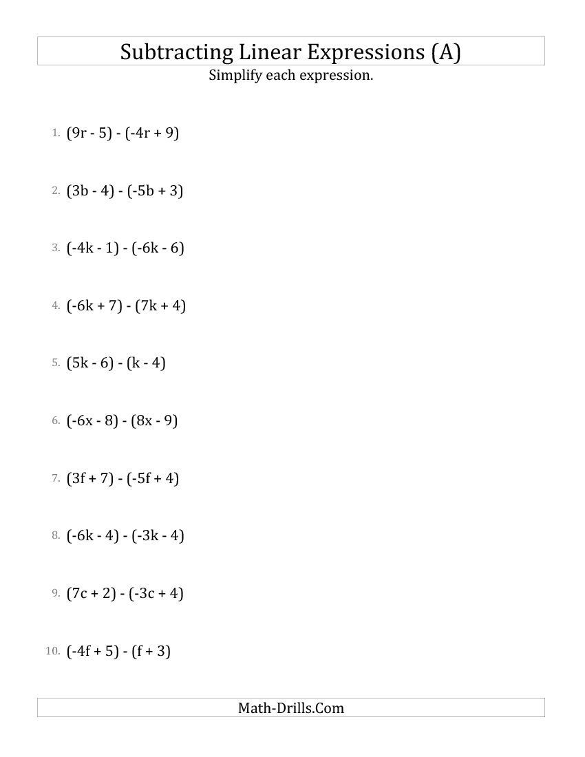 Equivalent Expressions Worksheet 6th Grade Subtracting and Simplifying Linear Expressions A Algebra