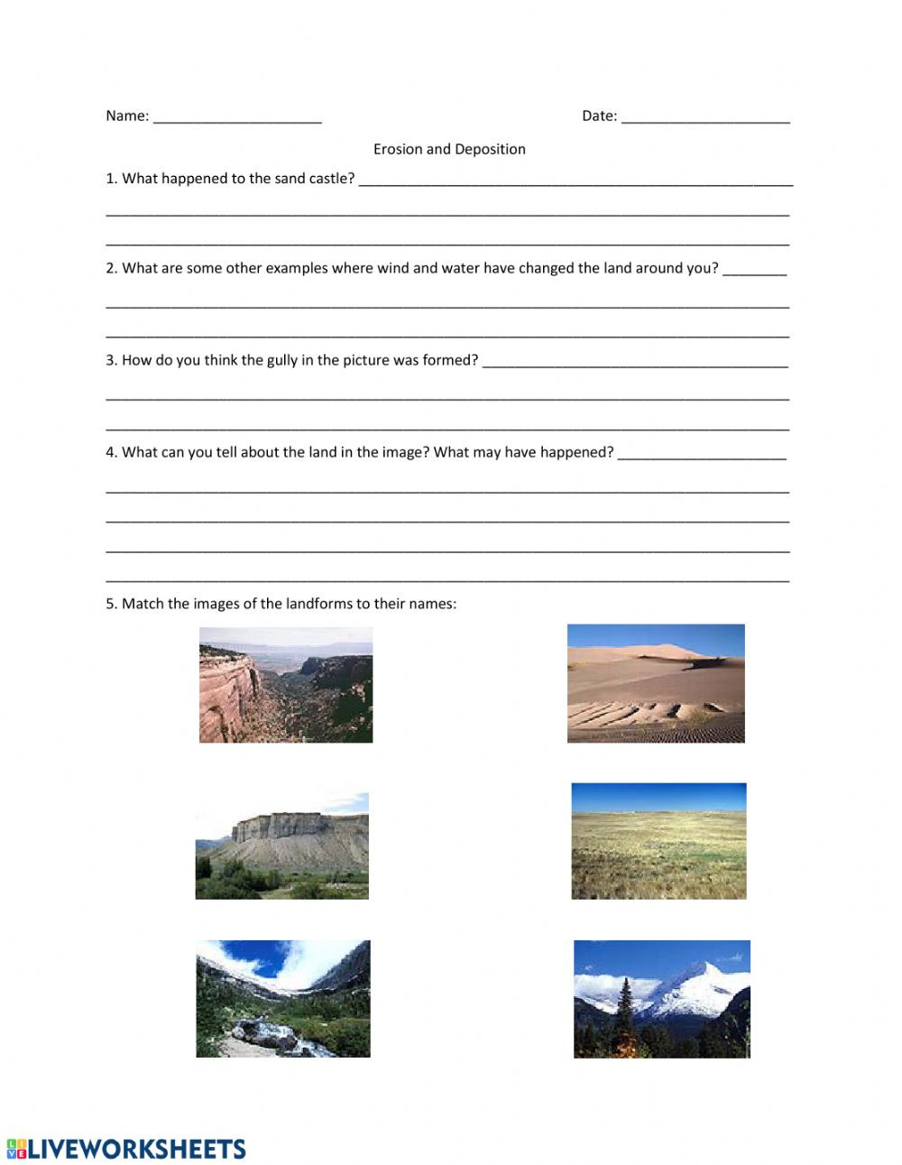 Erosion and Deposition Worksheet Erosion and Deposition Short Answers Interactive Worksheet